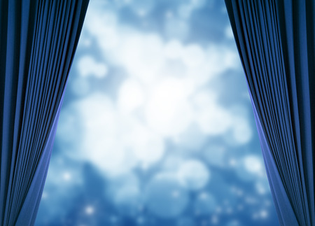 blue curtain and blue bokeh background photo