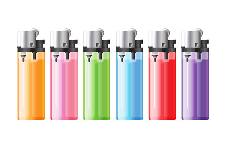 colored lighters on white background  photo