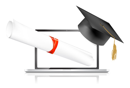 training computer: Education online concepts, vector illustration  Illustration