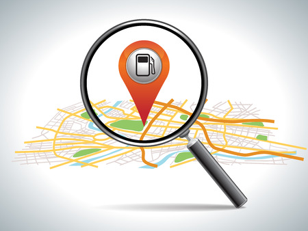 find gas station,  pin pointer on map location   Vector