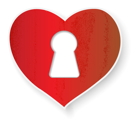 Paper  heart and  keyhole  on white Vector