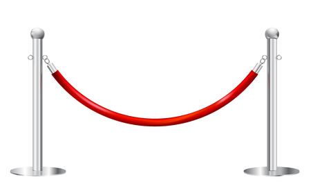 velvet rope barrier: stanchions barrier isolated on white