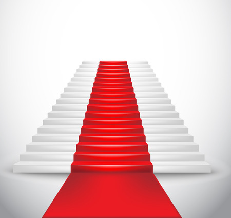 red line: Staircase and red carpet  Vector Illustration