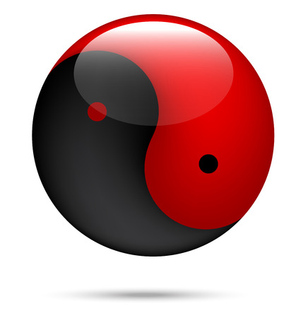 red and black Yin Yang on white Vector