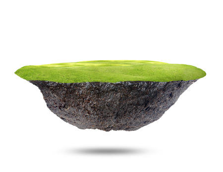 under ground: The floating island  on white background.