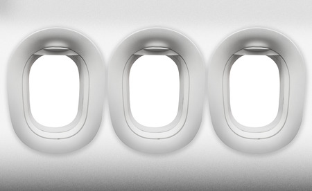 airplane window: empty three windows of Aircraft on white Stock Photo