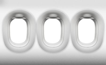empty three windows of Aircraft on white Foto de archivo
