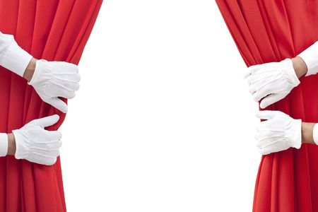 白地に赤いカーテンを開くの手。