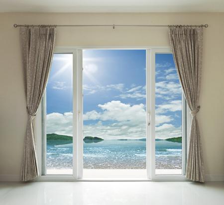 Opened door, sea view background photo