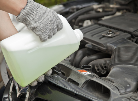 Antifreeze, coolant check service diy Stock Photo