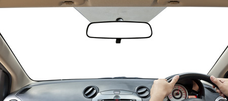 Car Rear View Mirror  isolated on a white  photo