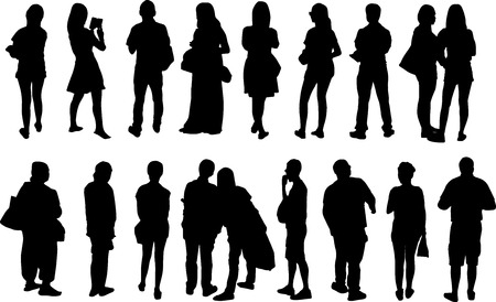standing: black view silhouettes peoples vector