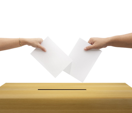 two party system: Ballot box and casting vote on white background  Stock Photo