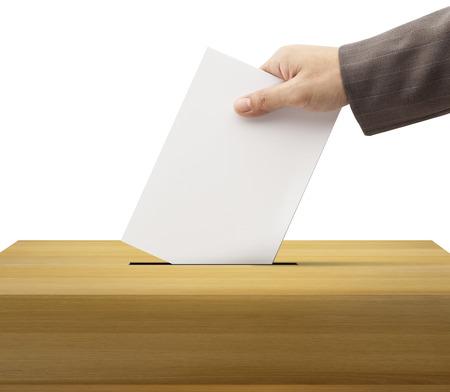 casting: Ballot box and casting vote on white background  Stock Photo