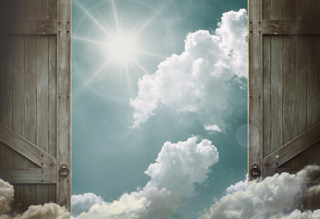 heavens gates: wooden doors open to heaven sky