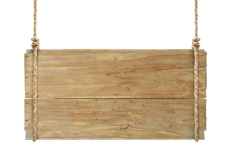 boards: wooden sign hanging on a rope isolated