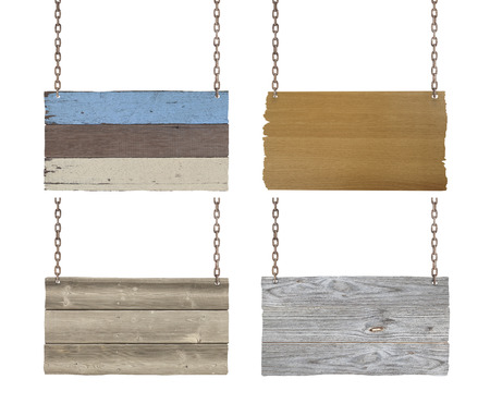 Set of wooden signs with chain on white background. photo