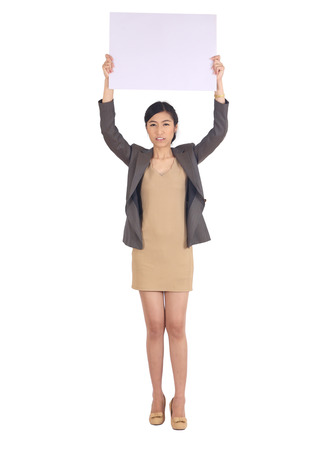 protest signs: business woman  holding a big blank card Stock Photo