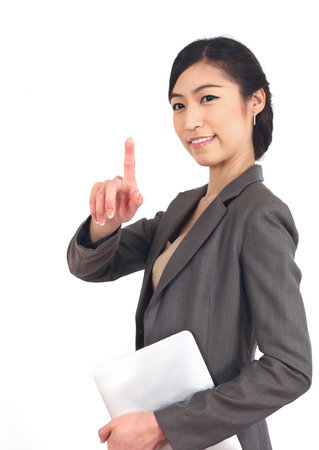 business woman with her fingers pointing.  Stock Photo