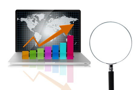 technical analysis: Magnifier and graph, technical analysis