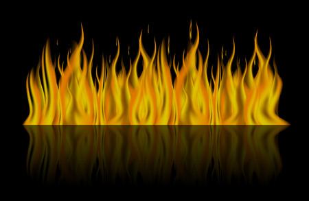 Fire on dark  background .