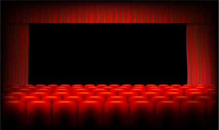 red theater curtain: Red theater curtain and seats
