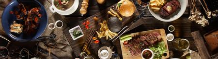 mix set foods top view on table Foto de archivo