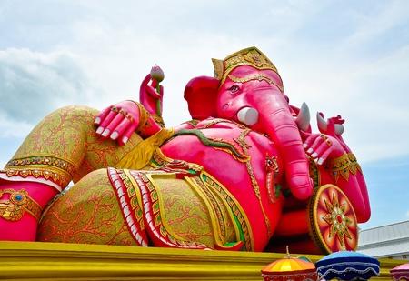 Big pink Ganesha in relax pose, Thailand