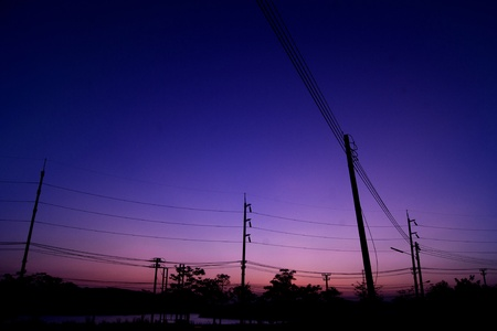 electric cables on sunset