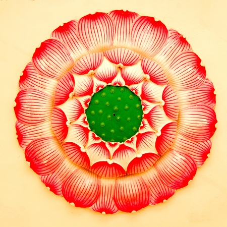 lotus painting on mable wall in chinese temple Stock Photo