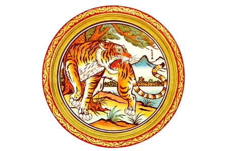 tiger painting on mable wall in chinese temple on white Background Editorial