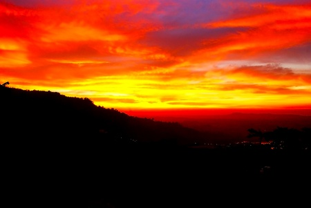 sunset mountain in thailand photo