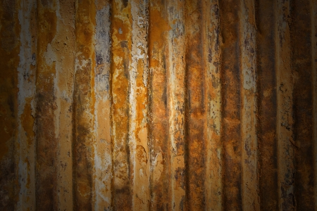damaged roof: A rusty corrugated iron metal texture
