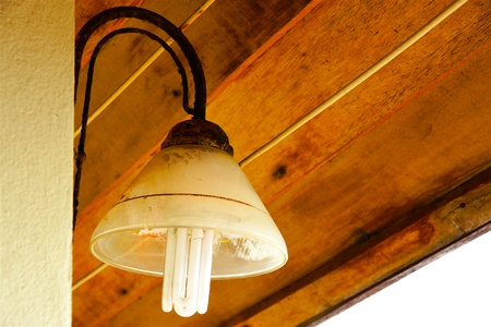 Old grunge lamp under the wooden ceiling photo