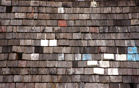 oldened: Roof made of wood. Close Up Wooden Tile Background