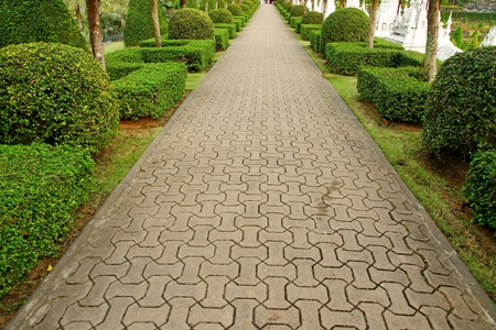 pave: Pavement made of stone in beautiful garden Stock Photo