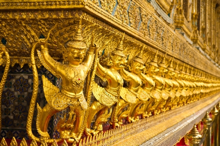 Golden garuda sculpture at Royal Palace in thai   Stock Photo