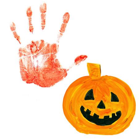 red hand: Halloween pumpkin,Red hand paint