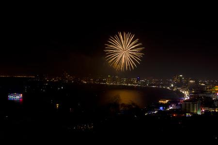 Night view and firework at Pattaya city, Thailand Stock Photo