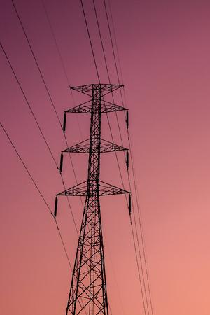 Electricity pylons on sunset