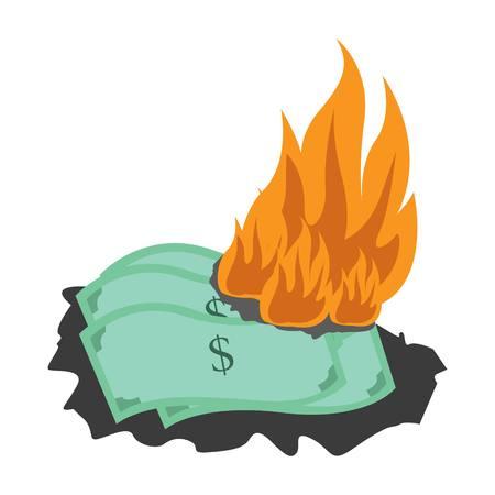 Illustrazione di bruciare denaro. Illustrazione dei soldi Vettoriali