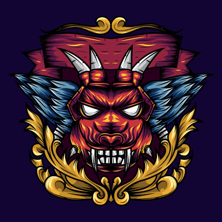 Devil's Head Geometry Ornamental is an Illustration of a devil's head with sharp fangs and wings