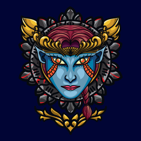 Devil Angel's Face Sacred Geometry. is An illustration with an devil angel's base that has a beautiful blend of colours 일러스트
