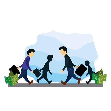 Illustration of a group of office workers who were leaving for work