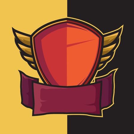 Badge winged shield for e-sport logo design elements