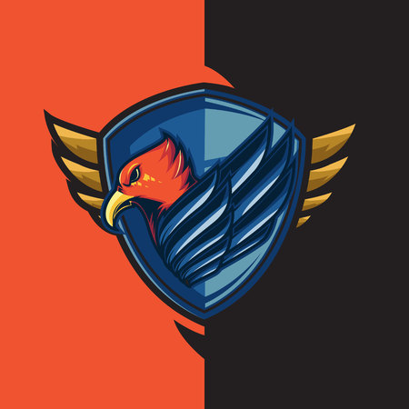 Esport gaming logo with the theme of blue-winged red eagle. With shield defense Vectores