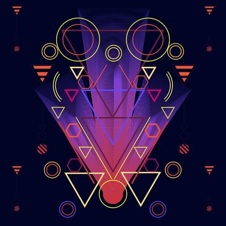 Beautiful colour gradation illustration background. on the basis of sacred geometry