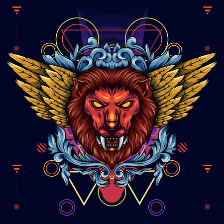 Illustration of a golden winged mythical lion head. With floral and sacred geometry that makes it more artistic Illustration