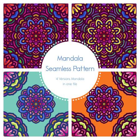 Vintage mandala seamless pattern pack with floral motifs. Vintage ornament texture mandala