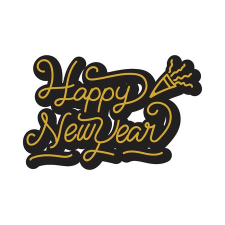 Happy New Year stickers. A sticker with a design that says happy new year. New year stickers with trumpet ornament. design new year stickers with monoline style  イラスト・ベクター素材